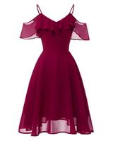 be89c18b60 vestidos elegantes para ocasiones especiales al por mayor-Vestido de cóctel  de satén con cuello