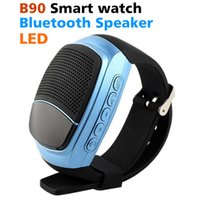 Wholesale pink portable speaker - 2018 B90 Smart watch Bluetooth Smartwatch Portable Speaker TF FM Audio Alarm Self-time SportS LED Screen Mobile phone Watch Fitness tracking
