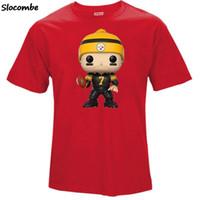 karikatur ben großhandel-Herren Sommer T-Shirt, Fans 7 Ben Roethlisberger Cartoon Figur Bild Druck Klassisches O-Neck T-Shirt