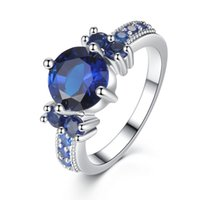 Wholesale 925 Silver Jewelry Blue Ring - Luxury 7ct Blue Sapphire Ring Solid 925 Sterling Silver Jewelry Emerald Design Fabulous Charm bague anel masculino