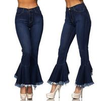 ingrosso pantaloni scarni alti neri alti-2018 Jeans neri a vita alta a vita alta con jeans svasati Donna Hight Waisted Skinny Hole Denim Jeans Stretch Slim Pants Bell-Bottoms Jean