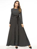 abayas modernos al por mayor-Womens Long Kaftan Fashion Wave Point Poliéster Casual Abaya Vestido Maxi Vestido Moderno Vestidos Abaya EID Vestido moderno para dama
