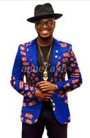 Wholesale African Fabric Black White - 2017 new African leisure suit real cotton batik printing fabric men suit Mens casual blazer
