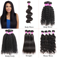Wholesale cambodian kinky curly weave for sale - Group buy Brazilian Virgin Hair Body Deep Water Wave Straight Kinky Curly Human Hair Extensions Weave Bundles Raw Indian Peruvian Wefts