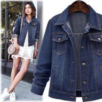 a501b4b05178d Size 5XL 2018 Autumn Winter Women Denim Jacket Long Sleeve Short Denim Coat  for Women Jeans Jacket Plus Size Outerwear