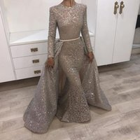 Wholesale vintage art deco fabric - Bling Bling Muslim Mermaid Formal Evening Dresses With Overskirts Removable Train 2018 Turkish Arabic Dubai Bling Unique Fabric Prom Gowns