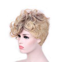 peruca loira escura loira encaracolado venda por atacado-WoodFestival perucas curtas para as mulheres perucas sintéticas curly ombre peruca ombre escuro raízes cabelo resistente ao calor peruca