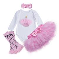 ingrosso gonne lunghe rosa-Baby Girl tuta set manica lunga top pagliaccetto principessa Tutu gonna rosa Fascia 4 pezzi vestito baby compleanno completi gonna fiore