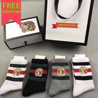Wholesale Tiger Embroidery Fabric - 2018 New hight quality 4 pairs Embroidery tiger head designer Sock Antibacterial Deodorant Cotton hose Unisex luxury brand Sport Socks