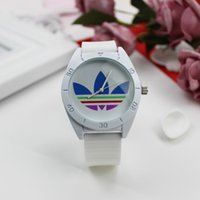 Wholesale ladies clover watch - AD Clover 3 Leaf Grass Ladies Dress Quartz Watch, Female Males Sports Casual Wristwatch silicone Brand Clocks 010