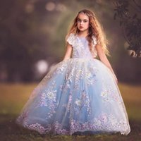 Wholesale girl sequin short pageant dresses - Princess Colorful Appliques Embroidery Sequins Girls Pageant Dresses 2018 Ball Gown Cap Sleeves Arabic Party Wedding Dress For Kids