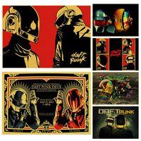 carteles de musica rock al por mayor-The Daft Punk banda de música rock Poster de alta calidad pintura impresa cartel retro decoración del hogar arte