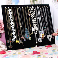 Wholesale Black Velvet Bracelet Holder - 17 hook necklace holder jewelry holder black velvet jewelry storage plate bracelet holder accessories plaid pavans display rack