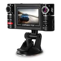 camera lens à vendre achat en gros de-Lentille Double DVR Caméscope Caméra F30 Double Lentille 2.7 pouce Auto Caméscope Voiture DVR Caméra HD Pare-Brise Conduite Enregistreur Vente Chaude Voiture DVR + B