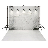 Wholesale white vinyl backdrops - 3x5ft Vinyl Backdrop Faded Gray Brick Wall Weathered White Background for Photo Studio Shooting Photo Booth