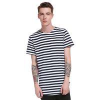 neue musterhemden männer großhandel-Streifen Beiläufige T-shirts Männer Baumwolle Rundsaum Lange Muster High Street Sommer Neue Mode Stil Kurzarm Tops