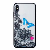 Wholesale lotus iphone online – custom 50pcs colours Emboss Black Lotus Flower TPU PC case for iphone X XS XR XS Max plus fashion cover