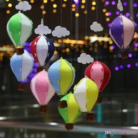 ingrosso ornamenti da giardino giardino-Fai da te Kindergarten Ornament Air Balloon Arcobaleno Stripe Griglia Manica a vento Hot Balloons Wind Spinner Garden Yard Outdoor Decor 4 2yf jj