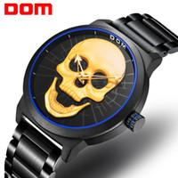 бренд мужчины светлее оптовых-DOM Men's Watches Top  Fashion Casual Waterproof Quartz Sport Skull Style Creative Lighter relogio masculino M-1231D