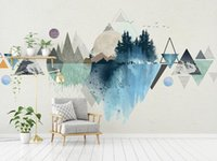 televisión moderna de fondo al por mayor-3d Modern Simplicity Nordic Landscape Sun Wallpaper Triángulo Geométrico Televisión Fondo Wallpaper Gris Sistema Home Decor