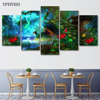 Wholesale peacock paintings piece for sale - Group buy YPHYHD Pieces Modular Wall Paintings Green Peacock Canvas Painting Print Poster Frame Picture Decor Wall Art Modern Painting