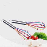 Wholesale Kitchen Blenders Wholesale - Kitchen Egg Frother Milk Beater Blender Colorful Silicone Whisk Stainless Steel Whisk Mixer Kitchen Utensils Egg Tool T2I172