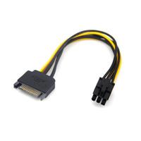 mini pci e kartları toptan satış-SATA 15 Pinli Erkek M, PCI-e Express Kart 6 Pinli Kadın Grafik Ekran Kartı Güç Kablosu # DY160