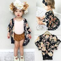Wholesale Wholesale Ponchos - Girls Floral Caps Poncho with Tassels Flower Printed Half Wide Sleeve Ramie Spring Autumn Tops Outfit 1-5T