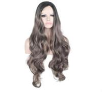 ingrosso fabbrica di capelli lunghi-2018 Commercio estero europeo e americano nero gradualmente grigio parrucca capelli ricci lunghi copricapo vendita diretta in fabbrica vendite hot spot