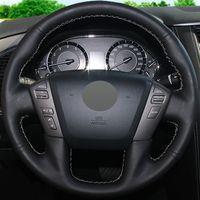 Wholesale car nissan patrol for sale - Group buy Car Steering Wheel Cover Black Genuine leather for Nissan Patrol Infiniti QX56 Infiniti QX80