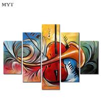 venda de pinturas a óleo venda por atacado-MYT Frete Grátis Hot Sale Da Moda Imagem Pinturas A Óleo Sobre Tela Pintado À Mão Abstrata Moderna Música Parede Decorativa Fotos Arte