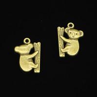 antik ayı kolye toptan satış-58 adet Çinko Alaşım Charms Antik Bronz Kaplama koala Bear Charms Takı Yapımı için DIY El Yapımı Kolye 20 * 14mm