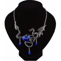 Wholesale Chinese Dragon Pendant Wholesale - whole saleNew Arrival Flying Dragon Necklace Pendant With Blue Heart Crystal Chinese Ethnic Necklace Female Male Christmas Gifts