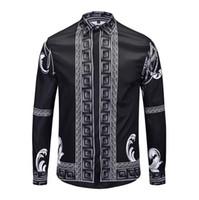 lange formale schwarze kleider großhandel-3D Ver Quallen Schwarz Männer Casual homme Brand New Formale Freizeit Shirts Slim Fit Langarm Kleid Masculina boutique M-XXXL rwltcy103a