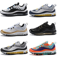 Wholesale famous world - High quality World Famous OG 98 Gundam UK GMT Navy Blue White Gold Sports Running Shoes Mens 98s Fashion Casual Jogging Sneakers 40-46