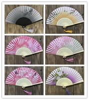 Wholesale hot pink curtains - Hot 300pcs Chinese Japanese Folding Fan Sakura Cherry Blossom Pocket Hand Fan Summer Art Craft Gift