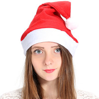 Wholesale santa claus woman costume online - Adult Christmas Hat Gift cap non woven fabrics New Year Party Red Santa Claus Costume Cap Cosplay Decor Xmas Hat FFA784