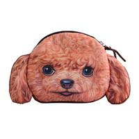 casos de perro 3d al por mayor-THINKTHENDO HOT 3D Cat Dog Face Zip Case Monedero clave monedero monedero de la muchacha maquillaje bolsa de mano bolsa
