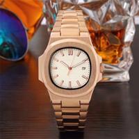 nuevo día rosa al por mayor-Relogio masculino de lujo para hombre relojes de diseño automático día fecha de negocios nueva marca casual hombres rosa oro reloj pulsera reloj de cuarzo