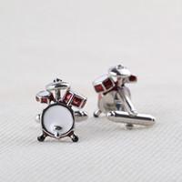 kit de bateria de música venda por atacado-Nota de prata Slur Clave de Sol Vermelho Cilindros Kit Abotoaduras Para Camisa Dos Homens de Jóias Moda Música Gêmeos Botões de Punho 10 pares de Presente de Natal