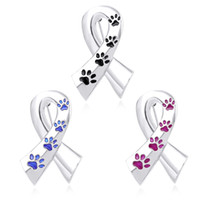 Wholesale christmas brooches for sale - Silk ribbon broches women enamel pet paw prints pins and brooches cat dog memorial pin black blue brooch metal silk satin badge