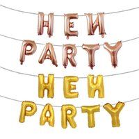 Wholesale gold letter foil balloons resale online - Fashion Hen Party Aluminum Foil Balloon English Letter Inflatable Helium Balloons For Party Wedding Decoration Airballoon Rose Gold hy BB