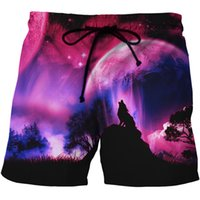 Wholesale spark light online - LOVE SPARK Fast Dry Light D Animal Summer Shorts For Men S To xL Wolf Moon Print Purple Beach Shorts For Boys