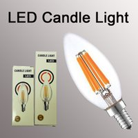 Wholesale vintage white glass lamp - LED Candle Bulb E14 Vintage C35 Filament Light Bulb E27 LED Edison Globe Lamp 220V A60 Glass 2W 4W 6W DIMMABLE