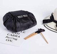 bayan tuvalet yıkama çantası toptan satış-Taşınabilir Kozmetik Çantası Sihirli Kozmetik Yıkama Torbalar İpli Tuvalet Makyaj Çantaları lady Seyahat Büyük Kapasiteli Çanta DDA130