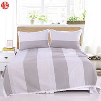 Wholesale pink lace bedspreads - Coarse Cloth Bed sheet set Silver grey Sheet&Pillowcase set Big stripe bed cover 250*250cm bedspread Lace Edge flat sheet