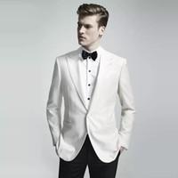 Wholesale mens party wear images resale online - Slim Fit Mens Wedding White Suits Groom Tuxedos Prom Party Wear Pieces Jacekt Pants Bridegroom Men Suits Best Man Blazer Trajes de Hombre