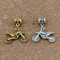 büyük delik altın boncuklar toptan satış-100 adet / grup Dangle Antik gümüş / altın Motosiklet Charm Big Hole Boncuk Fit Avrupa Charm Bilezik Takı 23x28mm A-281a