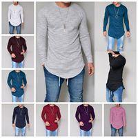 mischen rotes langarmshirt großhandel-European Style Farbiges Langarmshirt mit Kapuze Langarm T-Shirt Weiß, Rosa, Rot, Lila Unterstützung Gemischter Stapel