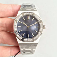 Wholesale diamond sapphire rings - Luxury Watch Ladys 33MM Quartz Movement Diamonds Ring Blue face Stainless Steel Sapphire 15400 womens watches free shipping